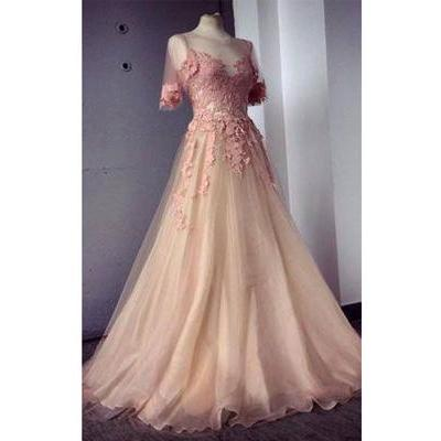 Long Prom Dress,Half Sleeves Prom D..