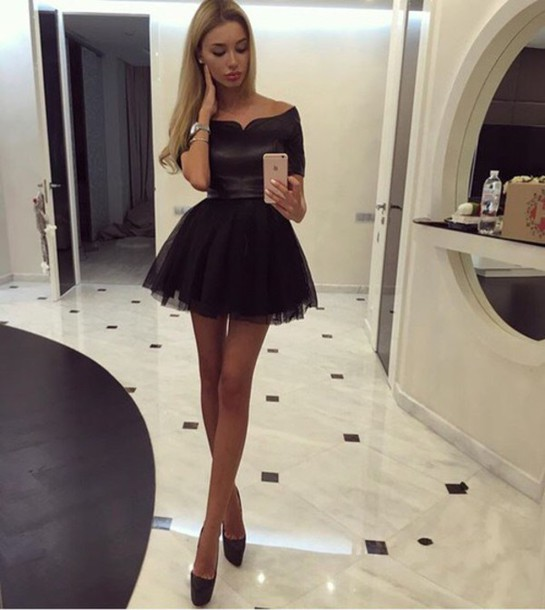 Mini Prom Dress,Off Shoulder Prom Dress,Short Sleeves Prom Dress ...