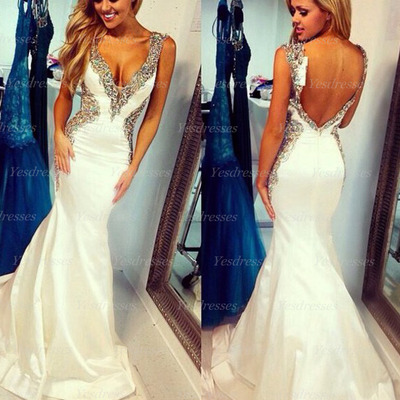 Long Prom Dress, Ivory Prom Dress, Backless Prom Dress, Mermaid ...
