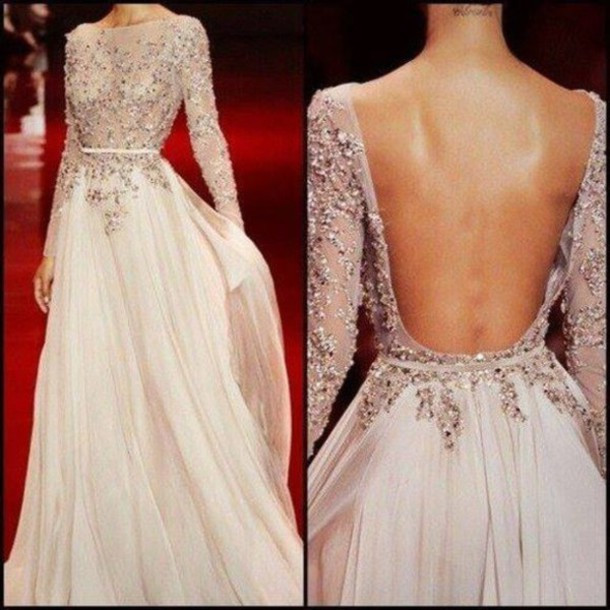Long Prom Dress,Long Sleeve Prom Dress,Open Back Prom Dress,Gorgeous Prom Dress,Popular Evening Dress,2016 Prom Dress,PD0342