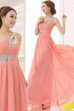 One Shoulder Chiffon Prom Dress,Long Sleeveless Prom Dress,Peach Prom Dress,Prom Dress For Juniors, PD003