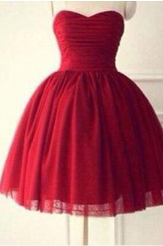 A-line Sweetheart short Tulle Prom Dress,Red Cute Prom Dress,Cheap Prom Dress,Homecoming Dress For Juniors, PD005