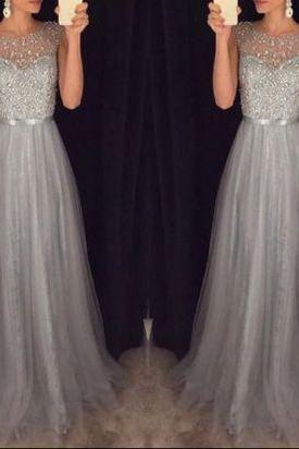 Long Prom Dress, Tulle Prom Dress, Grey Prom Dress,Floor-length Prom Dress, Junior Prom Dress,PD008