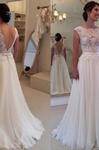 Long Chiffon Backless Prom Dress,Evening Dress,Floor-Length Sleeveless Prom Dress,White Prom Dress,PD0010