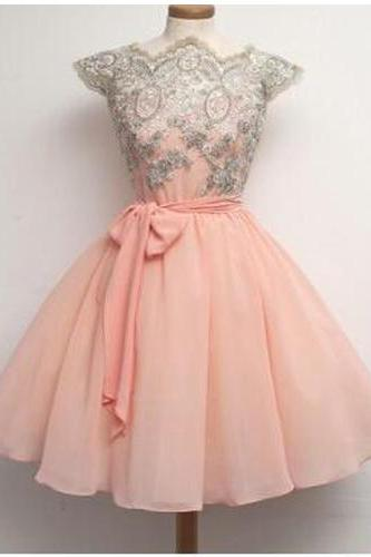 Short Classic Cute Prom/Homecoming Dress,A-Line Chiffon Prom Dress With Appliques,Cheap Homecoming Dress,PD0027