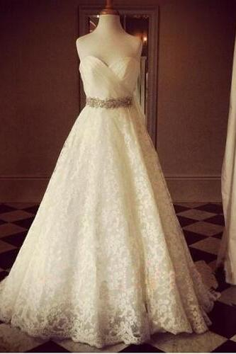 Chic Style Sweetheart Wedding Dress,Sleeveless Wedding Dress With Appliques,Elegant Wedding Dress With Beading, PD0046