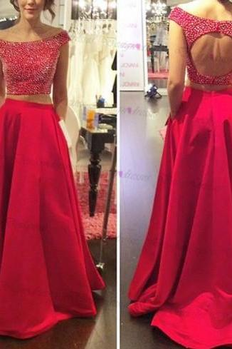 Off Shoulder Prom Dress,Two Piece Backless Prom Dress,Red Satin Prom Dress With Beading,Sleeveless Prom Dress,PD0064