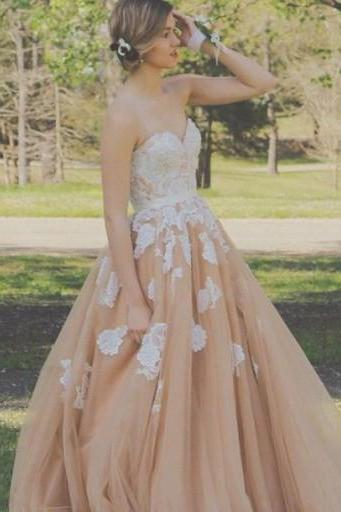 Long A-Line Sweetheart Wedding Dress,Sleeveless Wedding Dress,Backless Wedding Dress,Lace Wedding Dress With Appliques,PD0095
