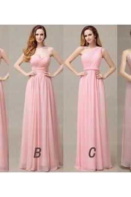 2016 Bridesmaid Dress,Long Bridesmaid Dress,Pink Chiffon Bridesmaid Dress,Sleeveless Bridesmaid Dress,PD0139