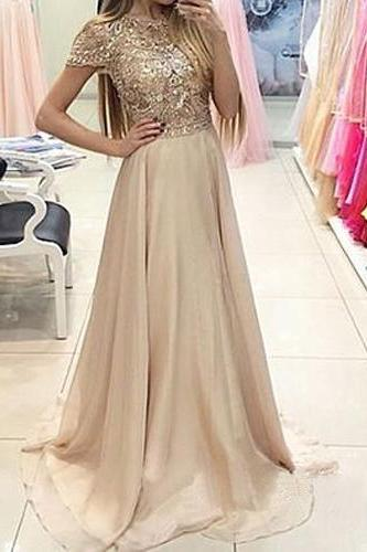 Long Prom Dress,2016 Prom Dress,Short Sleeves Prom Dress,Beaded Prom Dress,Satin Prom Dress,Elegant Prom Dress,PD0199