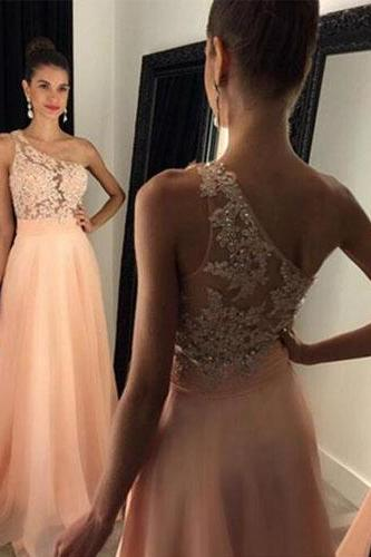 Long Prom Dress,One Shoulder Prom Dress,Sleeveless Prom Dress,Lace Prom Dress,Chiffon Prom Dress With Appliques,PD0273