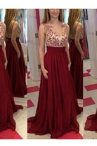 Long Prom Dress,2016 Prom Dress,Lace Prom Dress,Red Prom Dress,V-Neck Prom Dress,Sleeveless Prom Dress,PD0275