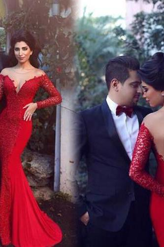 Long Prom Dress,Red Prom Dress,Lace Prom Dress,Long Sleeves Prom Dress,Mermaid Prom Dress,Sexy Prom Dress,PD0279