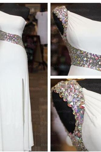 Long Prom Dress,White Prom Dress,One Shoulder Prom Dress,A-Line Prom Dress,Prom Dress With Beading,Elegant Prom Dress, PD0281