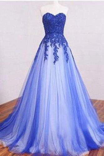 Floor Length Prom Dress,Sweetheart Prom Dress,Lace Prom Dress,Prom Dress With Appliques,Tulle Prom Dress, PD0282