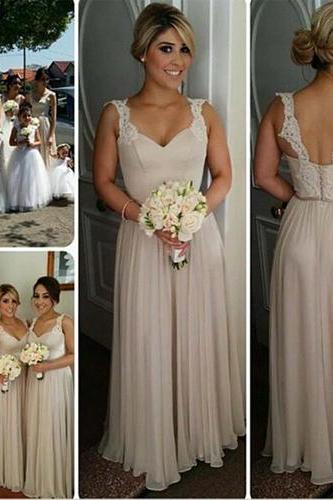 Long Bridesmaid Dress,V-Neck Bridesmaid Dress,Classic Bridesmaid Dress,Sleeveless Bridesmaid Dress,Chiffon Bridesmaid Dress,PD0291