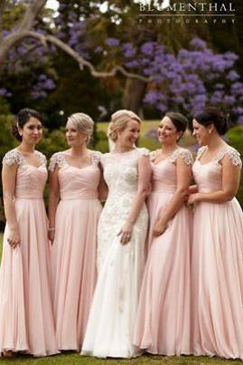 Long Bridesmaid Dress,Cap Sleeve Bridesmaid Dress,Simple Bridesmaid Dress,Chiffon Bridesmaid Dress,Elegant Bridesmaid Dress,PD0352