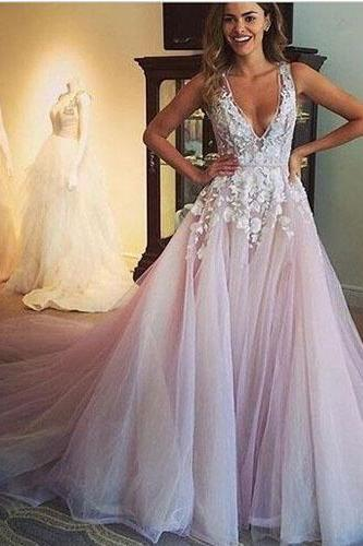 A-Line Prom Dress,2016 Prom Dress,Deep V-Neck Prom Dress,Prom Dress With Appliques,Evening Dress,Graduation Dress,Popular Prom Dress,PD0369