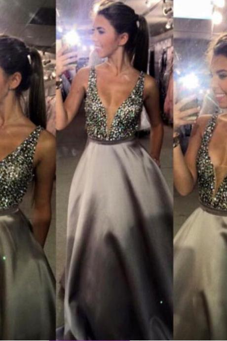 2016 Prom Dress,Deep V-Neck Prom Dress,Sequin Prom Dress,Puffy Prom Dress,Sleeveless Prom Dress,Dress For Juniors,PD0341