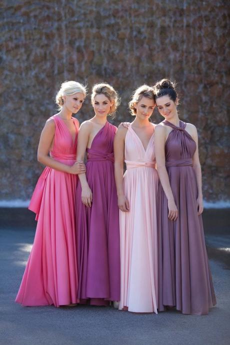 Long Bridesmaid Dress,Convertible Bridesmaid Dress,Chiffon Bridesmaid Dress,Popular Bridesmaid Dress,Cheap Bridesmaid Dress,PD0417