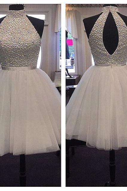 White Homecoming Dresses,High Neck Homecoming Dresses.Tulle Homecoming Dresses,Popular Homecoming Dresses,PD0450