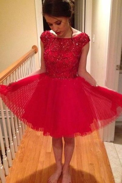 Homecoming Dresses,Tulle Homecoming Dresses,Homecoming Dresses With Beads,Red Homecoming Dresses,Cute Homecoming Dresses,Cheap Homecoming Dresses,PD0524