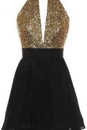 Halter Plunging Sequin Short Homecoming Dress, Prom Dress, Party Dress