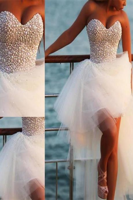 White Hi-low Homecoming Dresses, Homecoming Dresses, Tulle Homecoming Dresses, Cheap Homecoming Dresses, Juniors Homecoming Dresses, Short Prom Dresses, Dresses For Prom, PD0604
