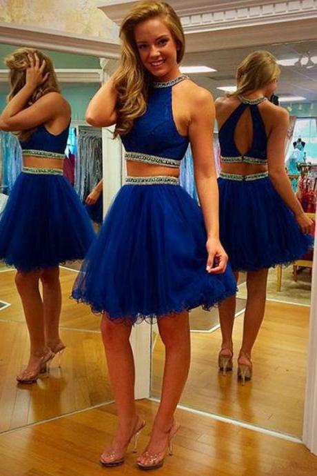 Two Pieces Navy Homecoming Dresses, High Neck Homecoming Dresses, Organza Homecoming Dresses, Homecoming Dresses, Dresses For Prom,Short Prom Dresses, Cheap Homecoming Dresses, Juniors Homecoming Dresses,PD0642