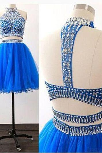 High Neck Rhinestone Homecoming Dresses, Organza Homecoming Dresses, Two Pieces Homecoming Dresses, Homecoming Dresses, Juniors Homecoming Dresses, Cheap Homecoming Dresses, PD0685