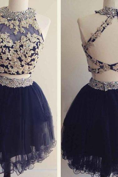 Navy Organza Homecoming Dresses, Lace Homecoming Dresses, Twp Pieces Homecoming Dresses, High Neck Homecoming Dresses, Homecoming Dresses, Juniors Homecoming Dresses, Cheap Homecoming Dresses, PD0712