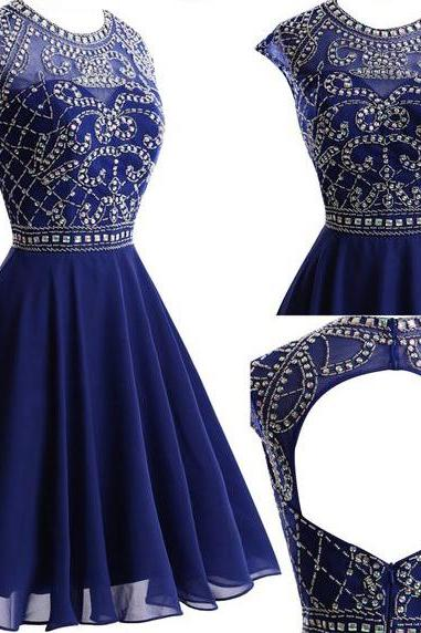 Round Neck Homecoming Dresses, Rhinestone Homecoming Dresses, Navy Chiffon Homecoming Dresses, Open Back Homecoming Dresses, Short Prom Dresses, Homecoming Dresses, Cheap Homecoming Dresses, Popular Homecoming Dresses, PD0768
