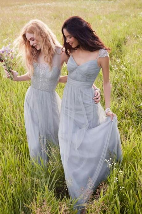Sliver Tulle Bridesmaid Dresses, Mismatched Bridesmaid Dresses, New Arrival Bridesmaid dresses, Cheap Bridesmaid Dresses, Junior Bridesmaid dresses, Popular Bridesmaid Dress,PD0786