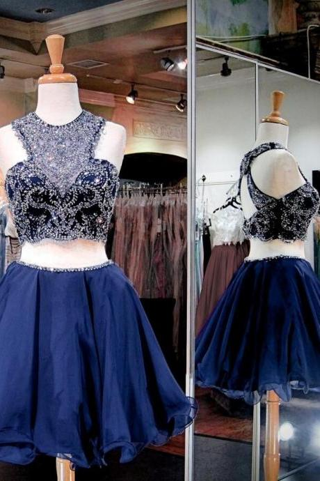 Two Pieces Navy Homecoming Dresses, Luxury Rhinestone Homecoming Dresses, Navy Homecoming Dresses, Popular Homecoming Dresses, Short Prom Dresses, Homecoming Dresses, Sweetheart 16 Dresses, PD0792