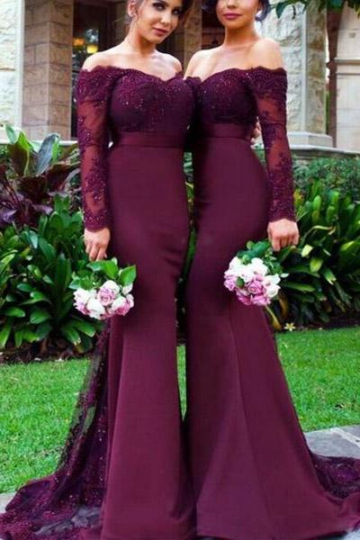Off Shoulder Burgundy Lace Bridesmaid Dresses, Long Sleeve Mermaid Bridesmaid Dresses, Hot Sale Bridesmaid Dresses, Sexy Bridesmaid Dresses, Long Prom Dresses, Prom Dresses, Cheap Bridesmaid Dresses, Bridesmaid Dresses, Popular Bridesmaid Dress,PD0808
