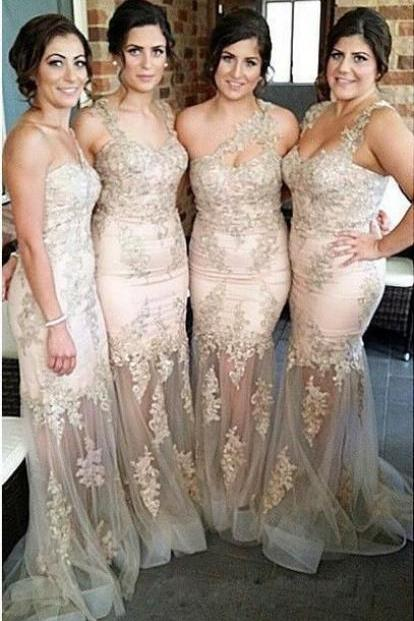 Champagne Lace Bridesmaid Dresses, Mismatched Organza Bridesmaid Dresses, Mermaid Bridesmaid Dresses, Long Prom Dresses, Prom Dresses, Cheap Bridesmaid Dresses, Bridesmaid Dresses, Popular Bridesmaid Dress,PD0817