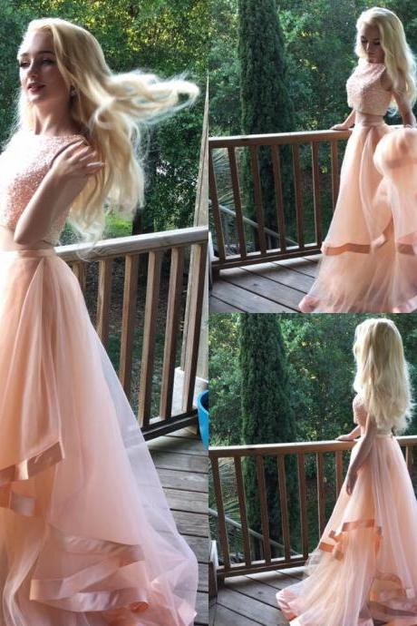 Pretty Beaded Two Pieces Prom Dresses, Coral Organza Prom Dresses, Dresses for Prom, 2017 Prom Dresses, Popular prom dresses, Juniors prom dresses, Prom Dresses, PD0883