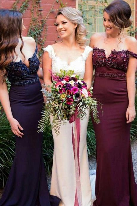 Off Shoulder Beaded Bridesmaid Prom Dresses, Sexy Mermaid Bridesmaid Dresses, 2017 Prom Dresses, Popular Bridesmaid Dresses, Bridesmaid Dresses, Prom Dresses, PD0890