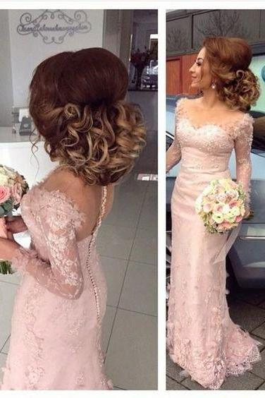 Gorgeous Pale Pink Lace Prom Bridesmaid Dresses, Long Sleeve See Through Appliques Prom Dresses, 2017 Prom Dresses, Popular Bridesmaid Dresses, Bridesmaid Dresses, Prom Dresses, PD0891