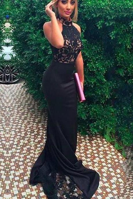 High Neck Sexy Mermaid Black Lace Prom Dresses, Best Sale Prom Dresses, Popular Prom Dresses, Long Prom Dresses, 2017 Prom Dresses, Prom Dresses, PD0896