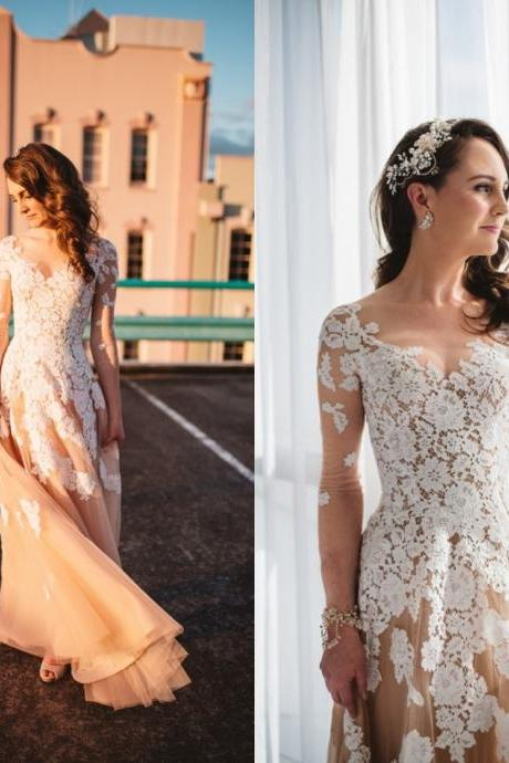 Gorgeous Long Sleeve Lace Wedding Prom Dresses, Long Sheath Prom Dresses, New Arrival Prom Wedding Dresses, 2017 Prom Dresses, Prom Dresses, PD0903
