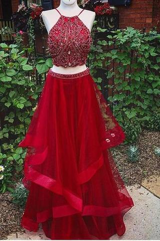 Two Pieces Prom Dresses, Red Organza Prom Dresses, Rhinestone Beaded Prom Dresses, Cheap Prom Dresses, 2017 Prom Dresses, Prom Dresses, PD0912