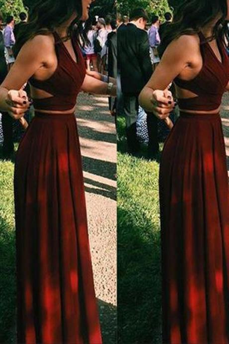 Simple Two Pieces Prom Dresses, Long A-line Prom Dresses, Popular Prom Dresses, Cheap Prom Dresses, 2017 Prom Dresses, Prom Dresses, PD0917