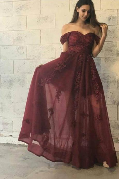 Off Shoulder Long A-line Prom Dresses, Brick Red Lace Tulle Lace Prom Dresses, Graduation Dresses, Popular Prom Dresses, Cheap Prom Dresses, 2017 Prom Dresses, Prom Dresses, PD0922