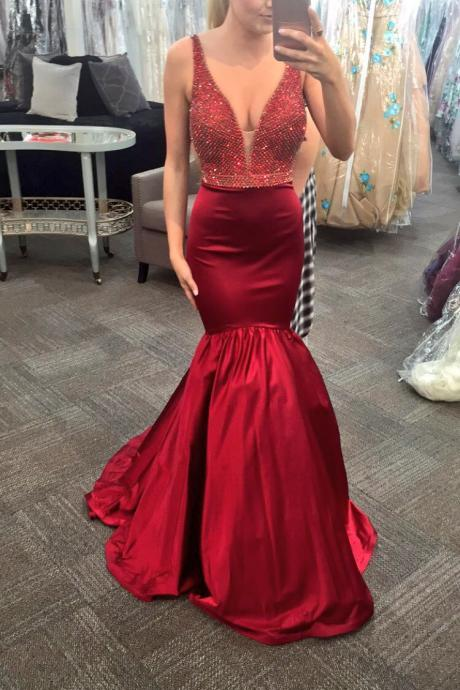 Sexy V-neck Red Beaded Prom Dresses, Long Mermaid Satin Prom Dresses, Newest Prom Dresses, Popular Prom Dresses, Cheap Prom Dresses, 2017 Prom Dresses, Prom Dresses, PD0923