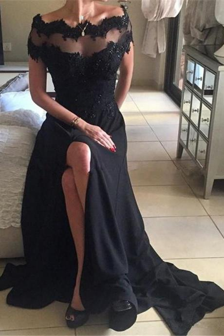 Off Shoulder Prom Dresses, Black Lace Prom Dresses, High Quality Beaded Prom Dresses, Side Slit Prom Dresses, Popular Prom Dresses, Cheap Prom Dresses, 2017 Prom Dresses, Prom Dresses, PD0941