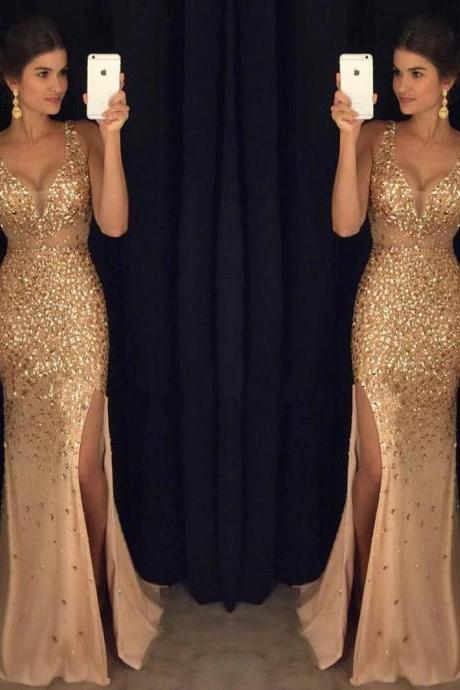 Gorgeous Shiny Rhinestone Prom Dresses, Strap Long Mermaid Prom Dresses, Hot Sale Side Slit Prom Dresses, Popular Prom Dresses, Prom Dresses, Long Prom Dresses, PD0964