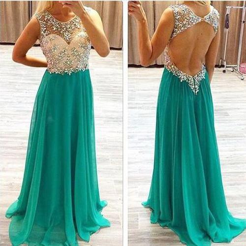 Long Prom Dress,Illusion Neckline Prom Dress,Bead Prom Dress,Sleeveless Prom Dress,Backless Prom Dress,Chiffon Prom Dress,PD0259