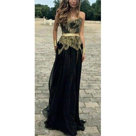 Long Prom Dress,Black Prom Dress With Gold Appliques,Sleeveless Prom Dress,Formal Evening Dress,Charming Prom Dress,PD0398