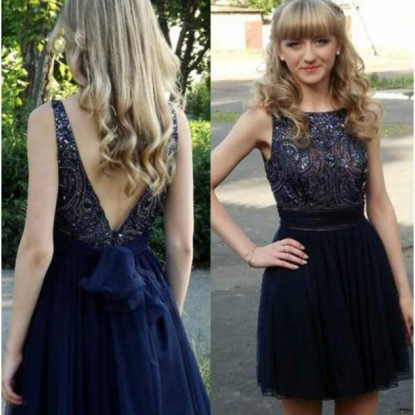 Dark Blue Rhinestone Homecoming Dresses, V-Back Homecoming Dresses, Tulle Homecoming Dresses, Homecoming Dresses, Dresses For Prom, Gorgeous Homecoming Dresses, Cheap Homecoming Dresses, Juniors Homecoming Dresses,PD0636